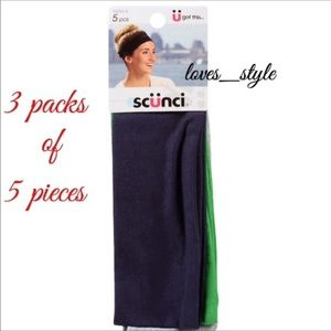 3 packs of Scunci Headbands: 5 bands in each pack.